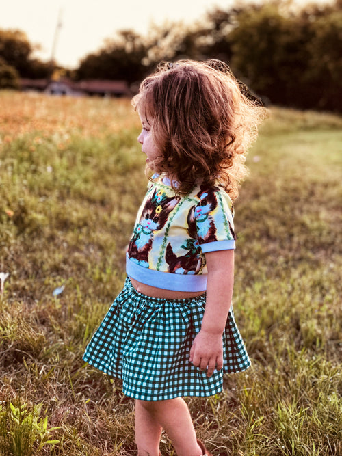 GREEN & WHITE GINGHAM Skirted Bloomer