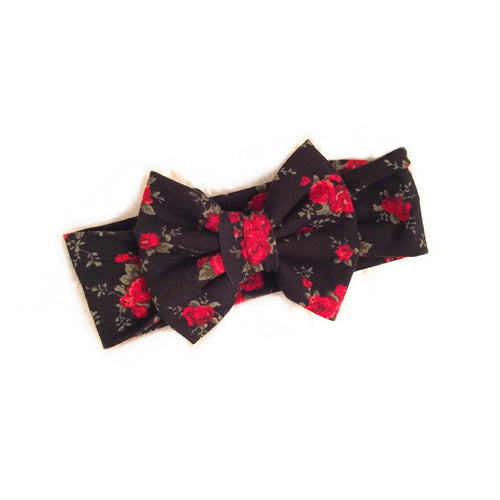 RED BLACK ROSE FLORAL Classic Bow Headband