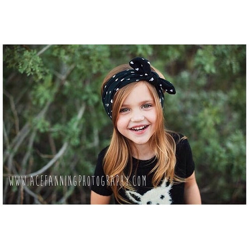 BLACK & WHITE HEARTS Top Knot Headwrap
