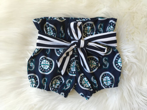 SEATTLE MARINERS MLB High Waisted Ruffle Shorts with Waist Sash