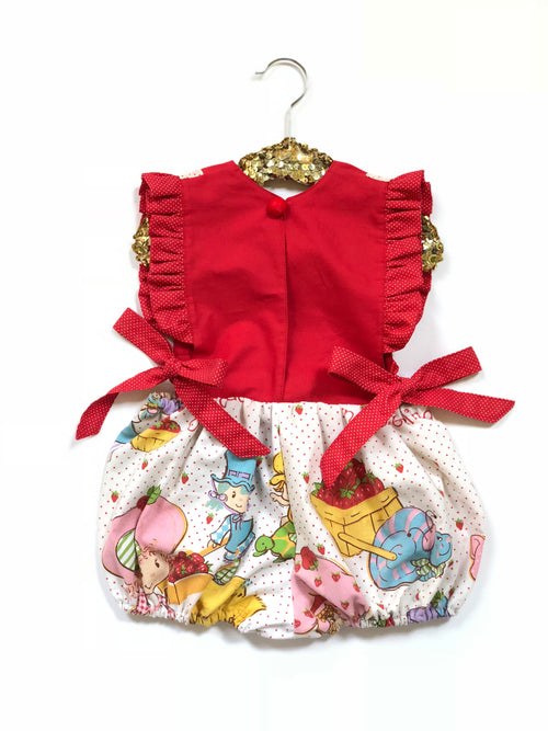 VINTAGE STRAWBERRY SHORTCAKE Pinafore Bubble Romper