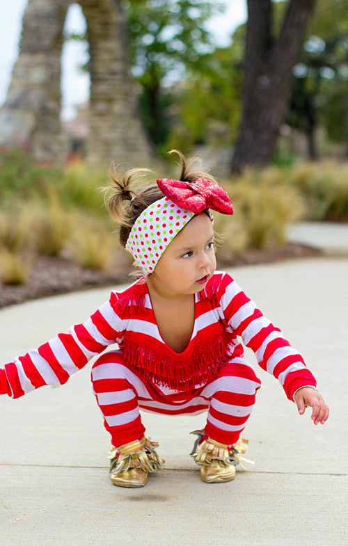 CHRISTMAS DOTS Sparkle Bow Headband