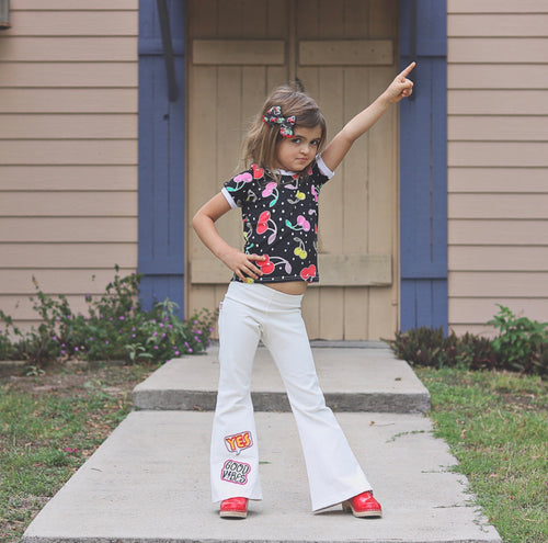 WHITE DENIM Patch Bell Bottoms