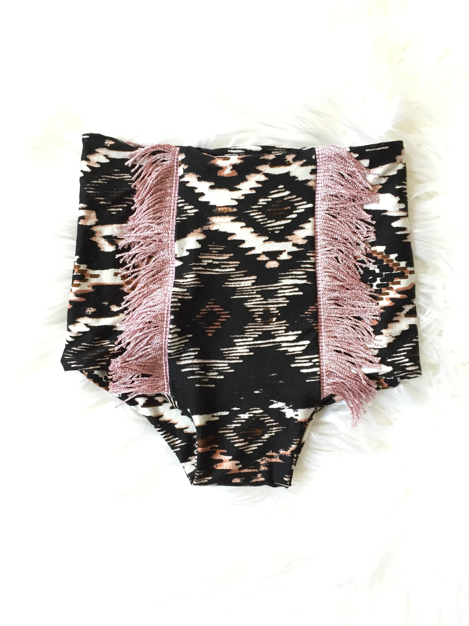 BLACK & BLUSH FRINGE High Waisted Bloomers