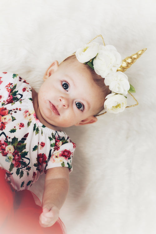 IVORY & GOLD Mini Flower Boho Unicorn Headband