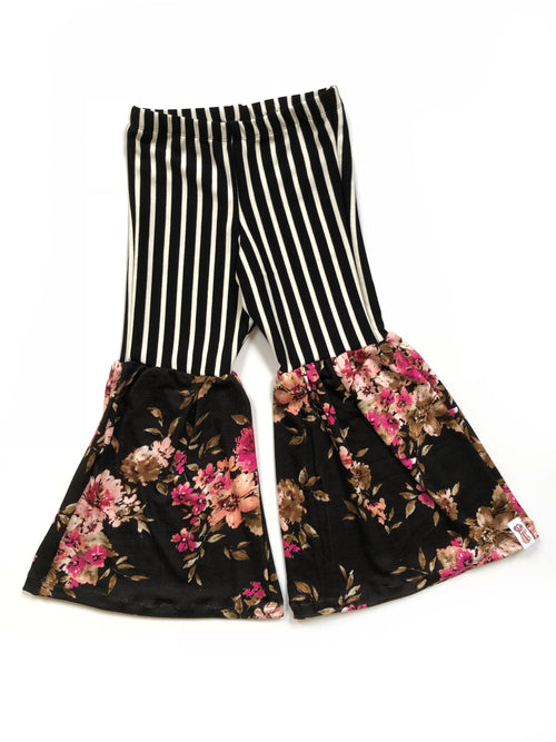 STRIPING BEAUTY & BLACK FLORAL Bell Bottom Flares