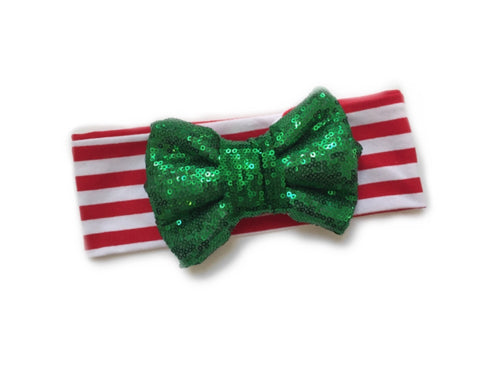 CANDY CANE LANE GREEN Sparkle Bow Headband