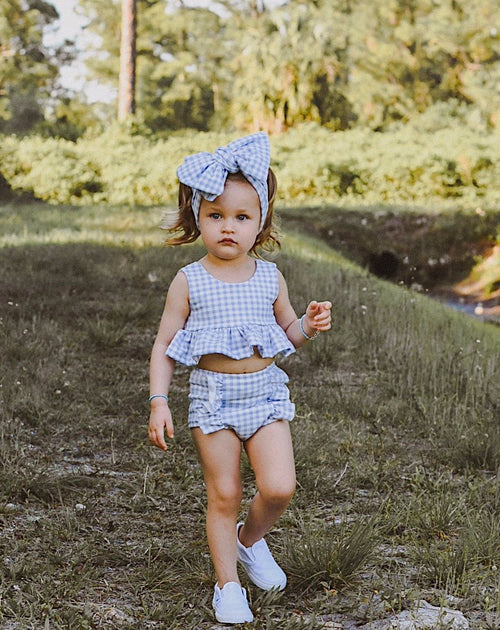 CORNFLOWER BLUE Gingham Peplum