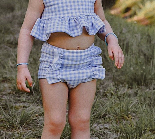 CORNFLOWER BLUE Gingham Hot Pants