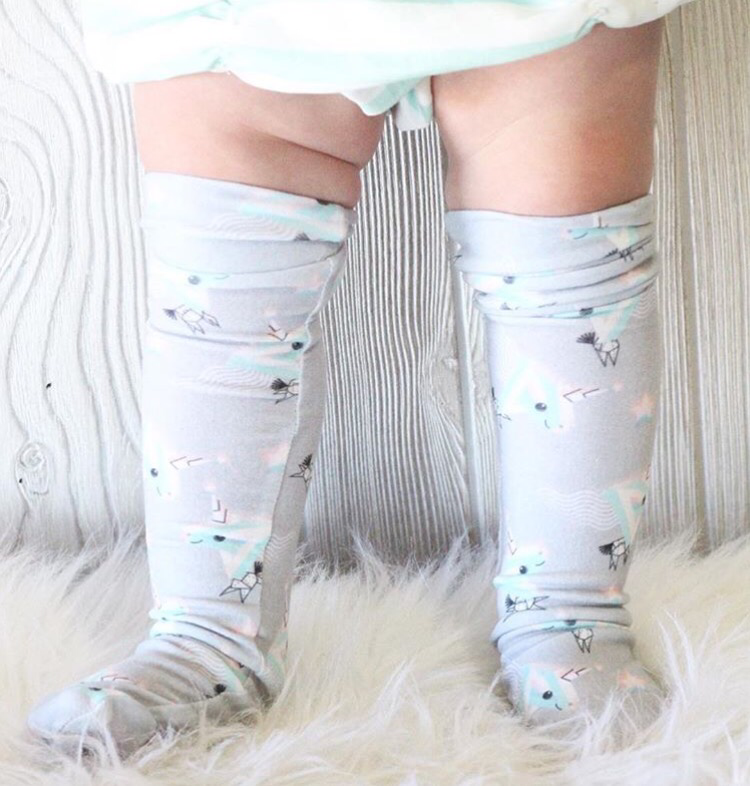 GRAY ORIGAMI Unicorn Organic Knee High Socks