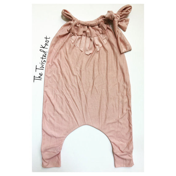 NATURAL BLUSH Fringe Harem Romper
