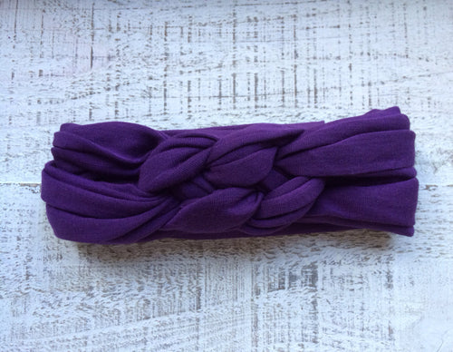 Eggplant Purple Braided Headband