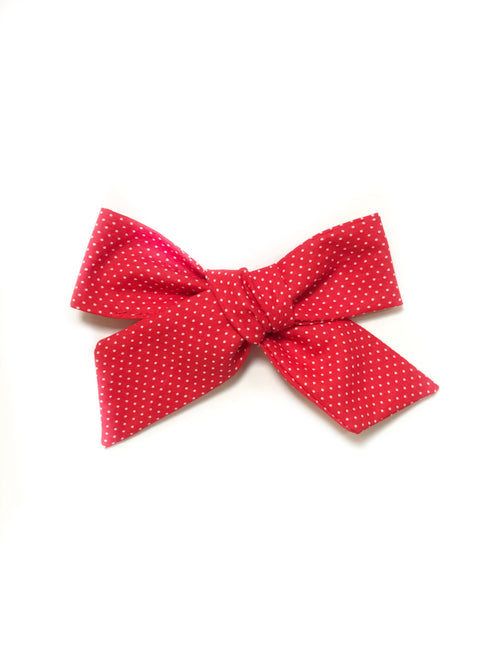 RED + WHITE Micro Dots Lana Bow