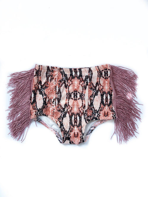 BLUSH SNAKESKIN FRINGE Hot Pants
