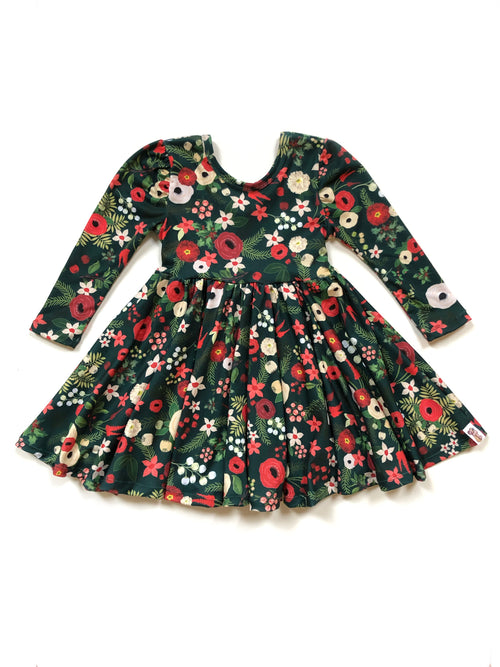 GREEN CHRISTMAS FLORAL Twirl Dress