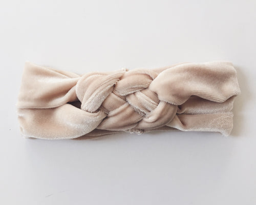 CREAM VELVET Braided Headband