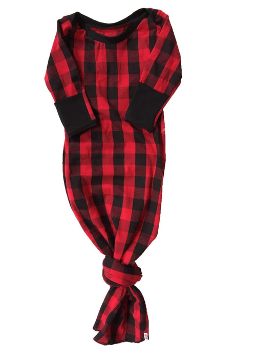 RED & BLACK BUFFALO PLAID Knotted Baby Gown