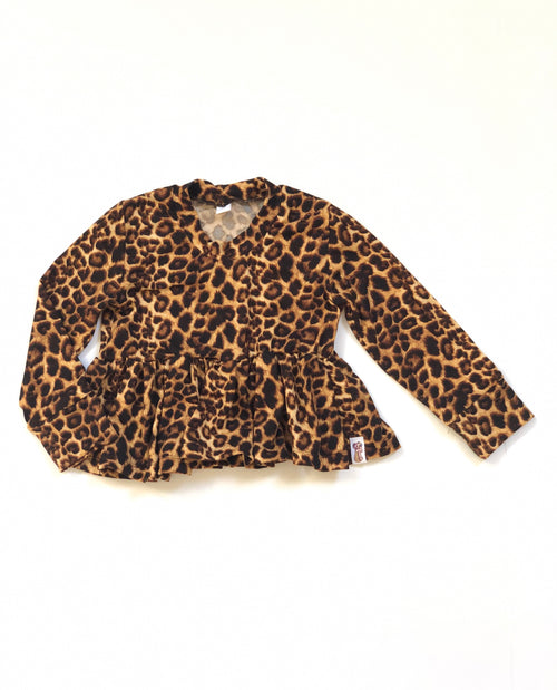 LEOPARD Long Sleeve Peplum