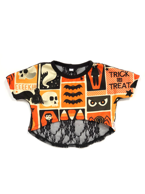 TRICK OR TREAT High Low Crop Top