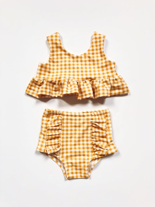MUSTARD GINGHAM Hot Pants
