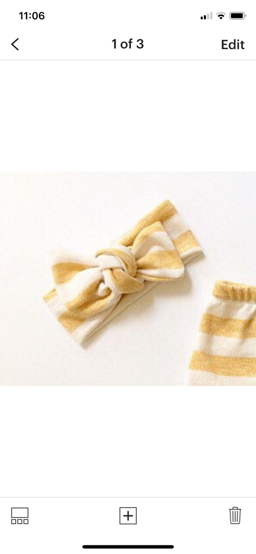 BUTTERCUP YELLOW CREAM STRIPES Top Knot Headwrap