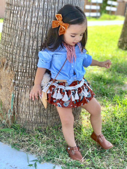 RUST & TURQUOISE FEATHER Skirted Bloomer