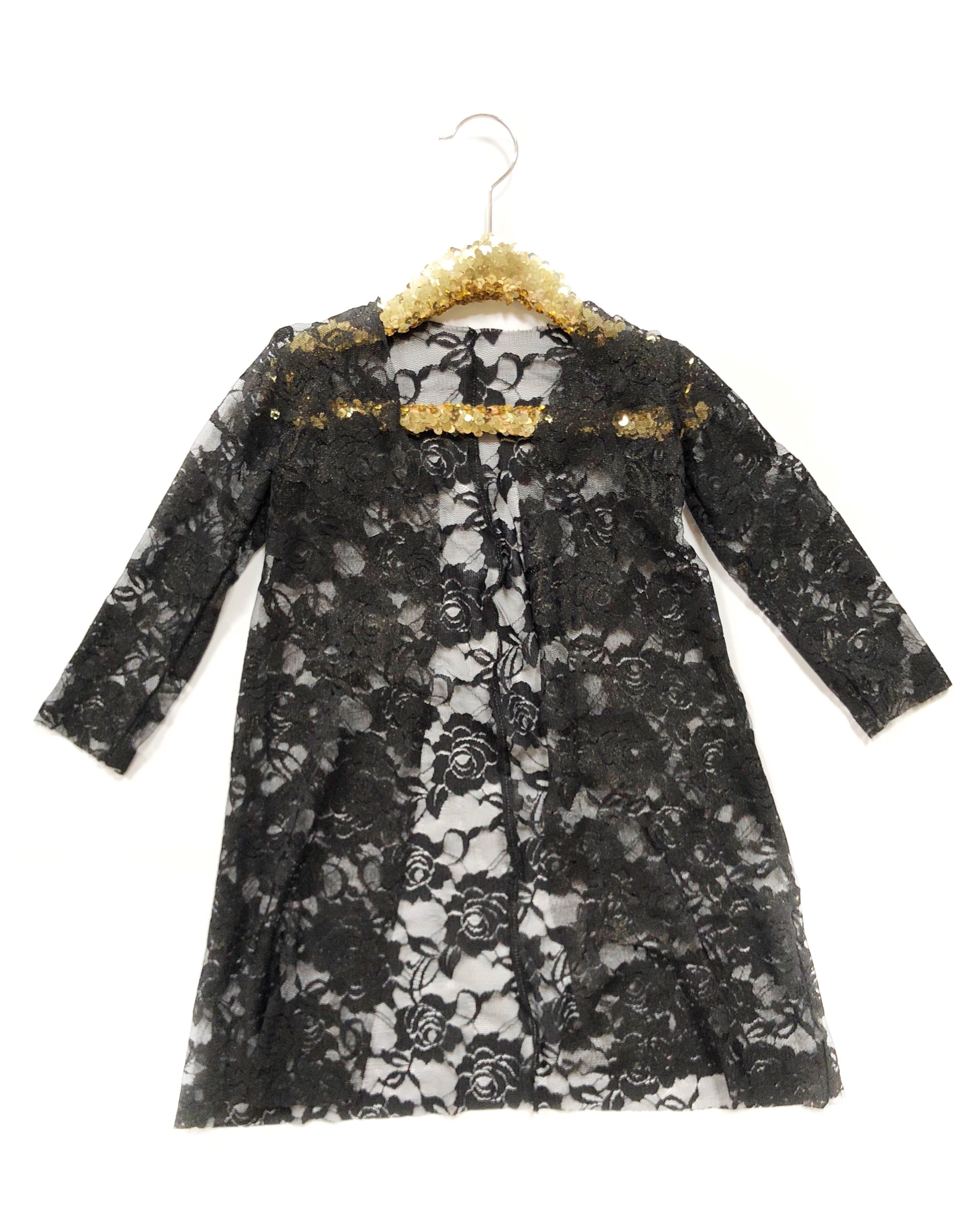 BLACK + GOLD SHIMMER LACE Long Sleeve Duster *Raw*
