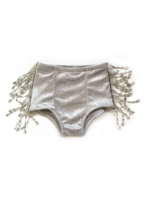 SILVER BEADED Velvet Hot Pants