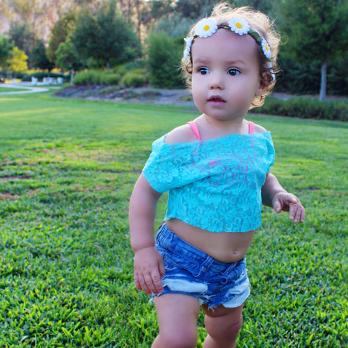 AQUA LACE Dolman Crop Top