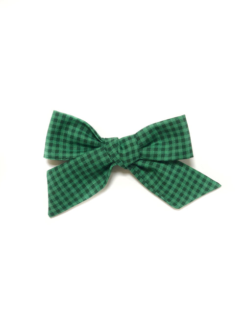 CHRISTMAS GREEN CHECK Vintage Plaid LANA Bow