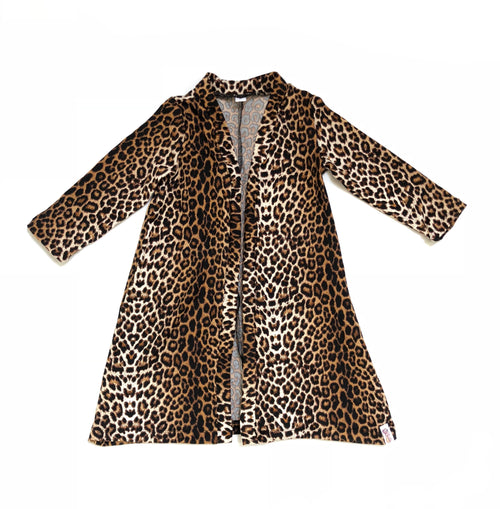 WILD CAT LEOPARD Long Sleeve Duster
