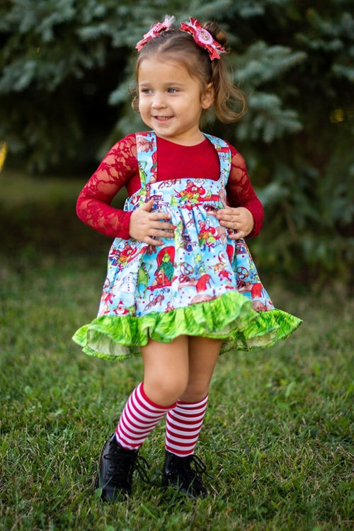 THE GRINCH Suspender Skirt with ruffle hem