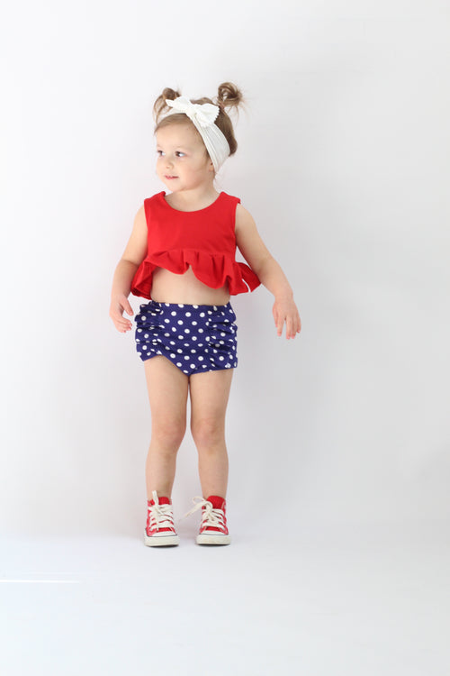 NAVY + WHITE POLKA DOTS Hot Pants