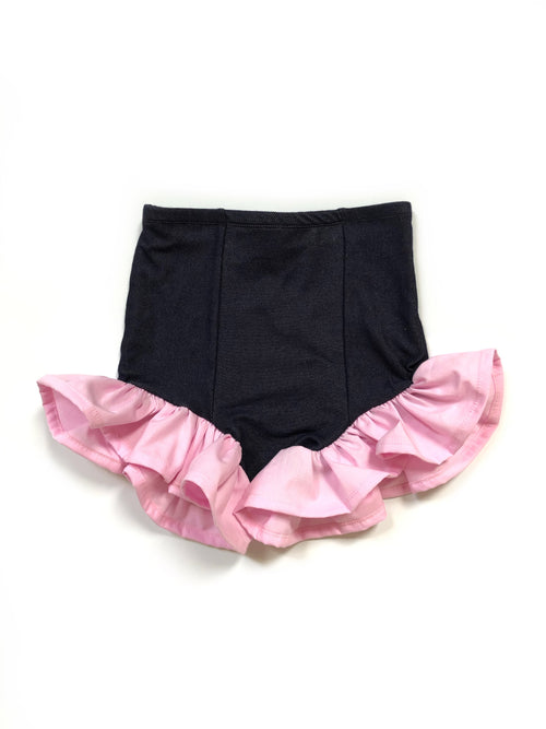 DARK DENIM + SOLID COLOR RUFFLE Hot Pants