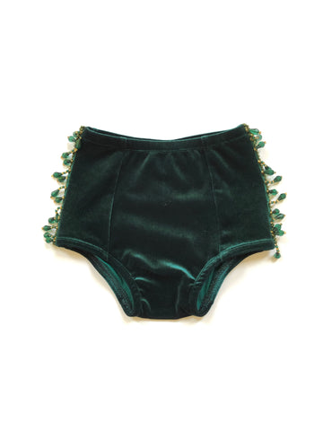 SLATE BLUE BEADED Velvet Hot Pants