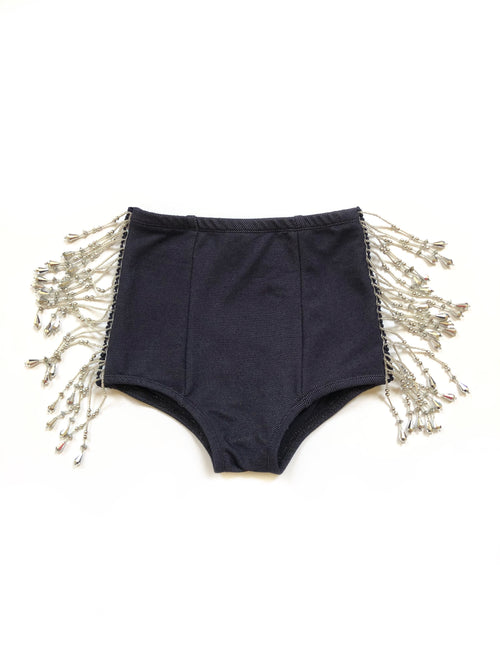 INDIGO DENIM + SILVER BEADED Hot Pants