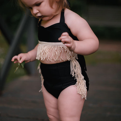BLACK + CREAM FRINGE Hot Pants -SWIM or KNIT