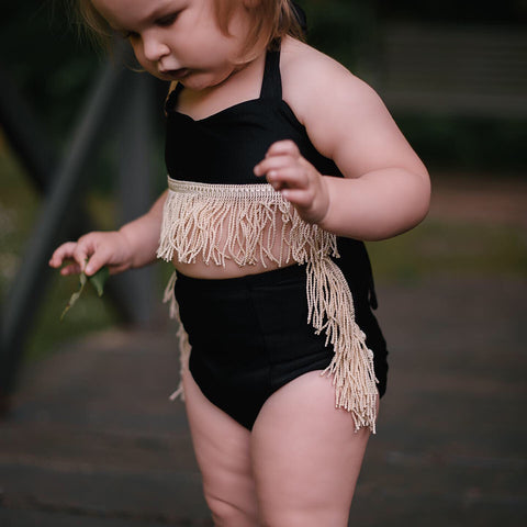 BLACK Velvet + GOLD Fringe Hot Pants