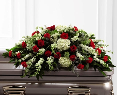 Red and White Casket Spray