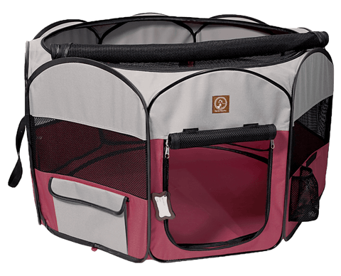 One for Pets Fabric Portable Playpen - Fuchsia/Grey - Large