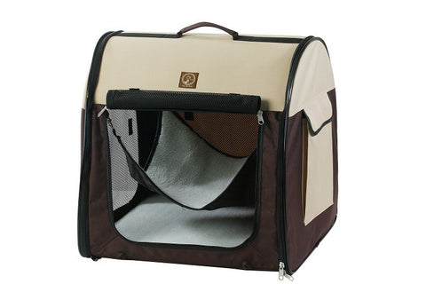 One for Pets Folding Fabric Portable Single Kennel - Cream/Brown - Single