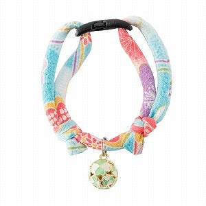 Necoichi Chirimen Cat Collar with Clover Bell (Baby Blue)