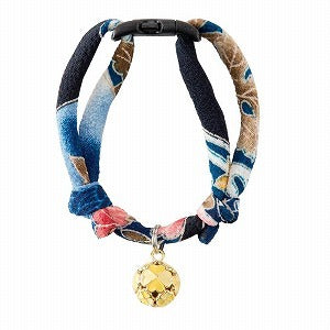 Necoichi Chirimen Cat Collar with Clover Bell (Navy)