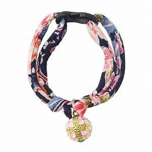 Necoichi Chirimen Temari Dynasty Cat Collar (Navy)