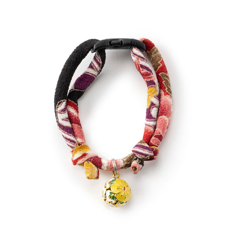 Necoichi Chirimen Plum Blossom Cat Collar (Red)