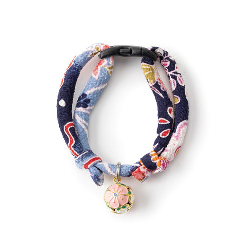 Necoichi Chirimen Plum Blossom Cat Collar (Blue)
