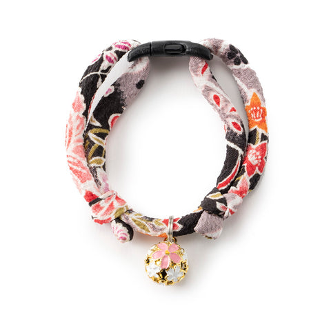 Necoichi Chirimen Sakura Cat Collar (Black)