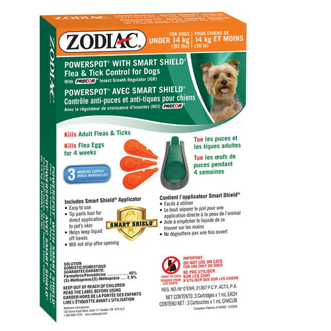 ZODIAC® POWERSPOT® WITH SMART SHIELD® FLEA & TICK CONTROL FOR DOGS UNDER 14 KG (30 LBS) – WITH PRECOR® INSECT GROWTH REGULATOR (IGR)