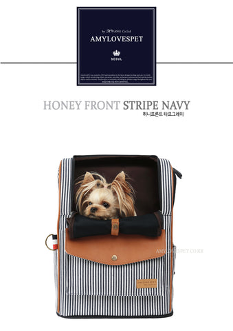 AMYLOVESPET Honey Front Carrier, Navy Strip