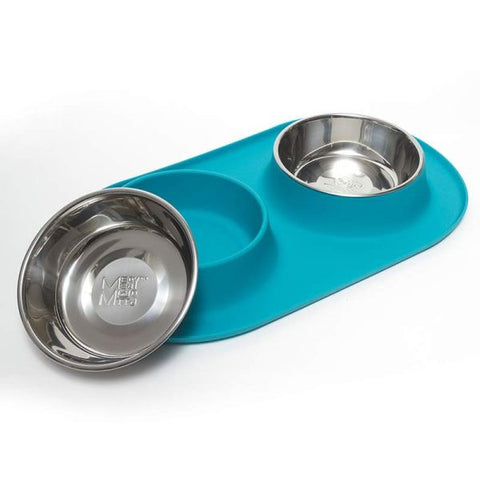 MEDIUM DOUBLE SILICONE with S/S BOWLS-BLUE